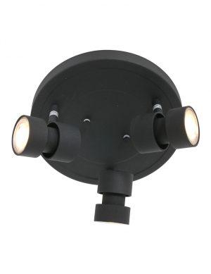 Spots ronds plafond trois LED noir-7905ZW