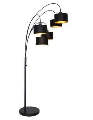 Lampe à arc en tissus cinq abat-jour noir-9330ZW