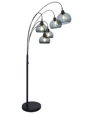 Lampe à arc cinq lumières avec sphères en plexiglas noir-9331ZW