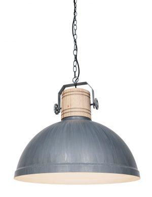 Lampe de table industrielle avec tige en bois gris-3000GR