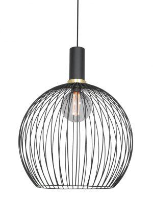 Lampe boule en fil de fer avec détails dorés noir-3068ZW