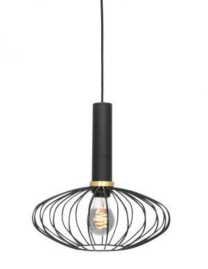 Suspension ovale en fil de fer noir-3071ZW