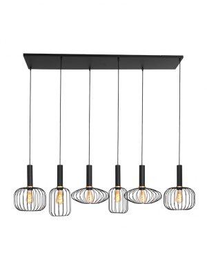 Lampe de table à manger en fil de fer ludique à six lumières noir-3072ZW