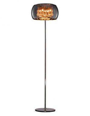 Lampadaire chic avec verre fumé chrome-3146CH