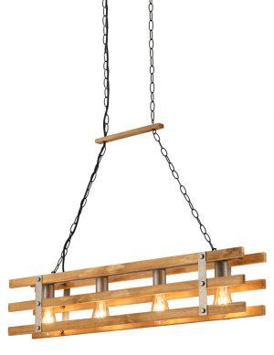 Suspension salon style industrielle robuste en bois acier-3156ST