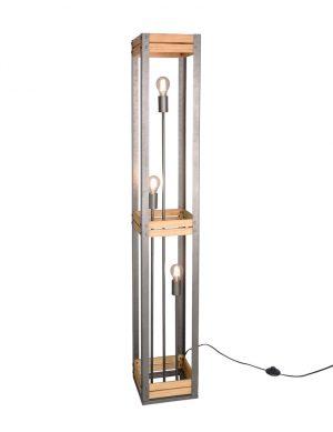 Lampadaire robuste avec bois acier-3159ST