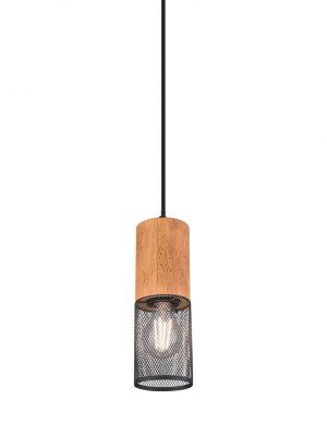 Lampadaire cage bois acier-3161ZW