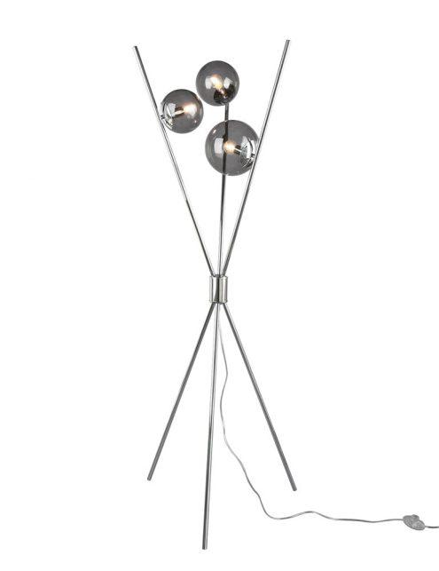 Trépied avec boules en verre fumé chrome-3180CH