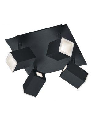 Spot de plafond LED dimmable quatre lumières noir-3183ZW