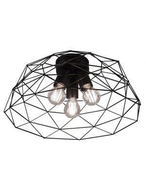 Plafonnier trois lumières noir-3191ZW