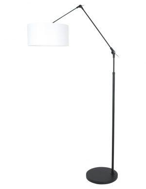Lampadaire orientable avec abat-jour blanc noir-8112ZW