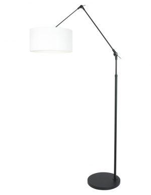 Lampe arc noir bras articulé abat-jour lin blanc-8114ZW