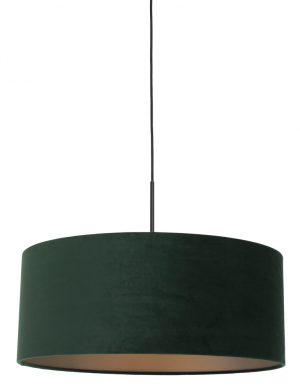 Suspension avec abat-jour en velours vert noir-8156ZW