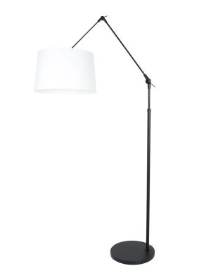 Lampadaire bras articulé avec abat-jour uni blanc-8183ZW
