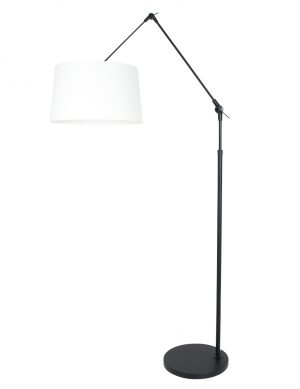 Lampadaire bras articulé abat-jour lin noir et blanc-8184ZW