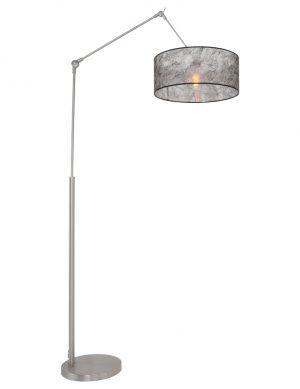 Lampe arc bras articulé acier avec abat-jour noir-9896ST