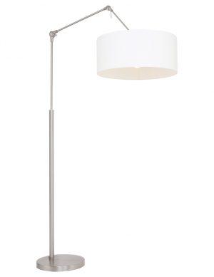 Lampe à poser à bras articulé en acier avec abat-jour en lin blanc-9897ST